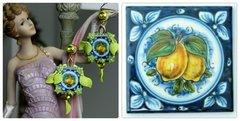 1225 Sicilian Lemon Print Leaf Juicy Studs Earrings
