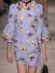 2089 Designer Beautiful Embroidery Violet Flower Stunning Mini Dress US6