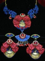 2056 Ballerina Set Of Stunning Fan Necklace+ Earrings