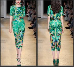 2455 High-End Designer SIlk Green Print Twinset