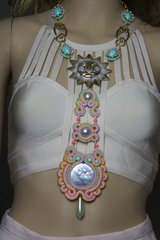 SOLD! 2290 Soutache Pearl Sun Hand Painted Massive Long Necklace