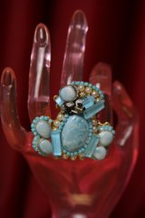 SOLD! 2334 Genuine Caribbean  Larimar Solar Quartz Enamel Couple Huge Cocktail Ring