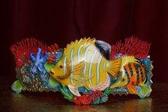2478 Nautical Huge Tropical Yellow Fish Coral Embellished Waist Belt