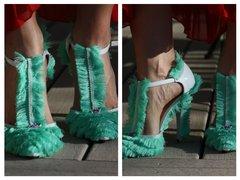 SOLD! 1389 Spring 2017 Designer Inspired Fringe Mint Heels Size US10