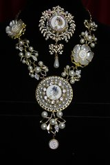 1784 Madam Coco Enamel Medallion Pearl Flower Set