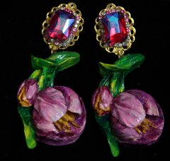 SOLD! 1966 Hand Painted Tulip Crystal Studs Earrings