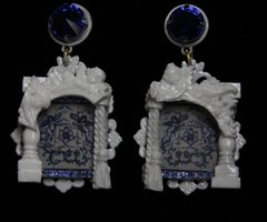 1942 Baroque Italian Tile Print Cherub Architect Blue Crystal Earrings