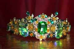 2129 Green Crystal Baroque Leaf Rose Headband