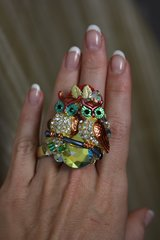 1038  Victorian Enamel Adorable Pair Of Owl Cocktail Adjustable Ring