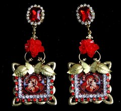 SOLD!1953 Virgin Mary Red Rose Butterfly Studs Earrings