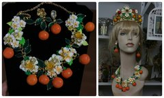 952  SET Designer Inspired Orange Fruit Flower Set Necklace Plus Earrings