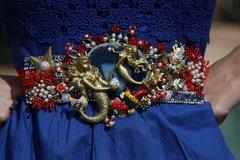 1003  Genuine Agate Art Nouveau Mermaids Nautica Belt Size XS-S