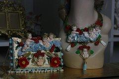 370 Total Baroque Hand Painted Cherub Cloud Unique Statement Necklace