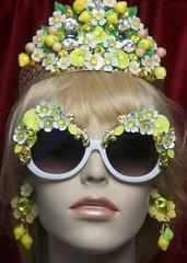 SOLD!2755 Lemon Sicilian Fruit Hand Painted Flower Embellished Sunglasses