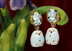 2589 Hand Painted Adorable Owl Bird Studs earrings