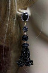 2125 Oscar Black Beaded Crystal Studs Tassel Earrings
