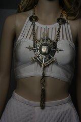 1778 Unique Medieval Family Shield Huge Antiqued Necklace