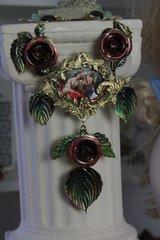 SOLD! 350 Renaissance Zibellini Cameo Venus Cherub Vivid Rose Statement Necklace