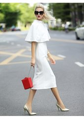 2411 Runway Lady-like Cape Mid Cuff White Dress US2-US6