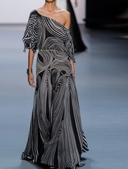 2029 Designer Abstract B&W Maxi Dress Gown