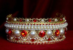 1695 Russian Style Red Crystal Pearl Gold Filigree Headband