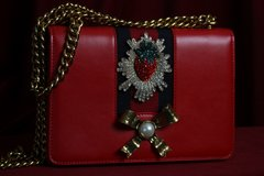 1672 Designer Inspired Strawberry Bow Pearl PU Leather Red Crossbody Purse Handbag