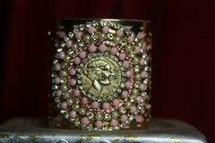 1721 Repurposed Authentic Chanel Button Pale Pink Bangle Cuff