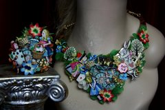 SOLD!1995 Set Of Alice In Wonderland  Earrings+ Necklace