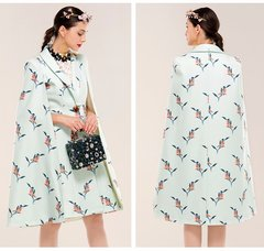 2407 Woll Blend Designer Inspired Cape Bolero Bird Print Coat