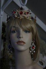 SOLD! 117 SET Baroque Red Rhinestone Gold Filigree Crown  Tiara