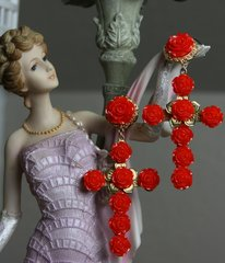 1115 Baroque Red Rose Massive Cross Earrings