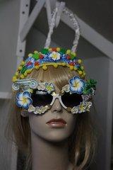 SOLD!!!311 Zibellini Top Heavy Greek Grape Column Hand Painted Embellished Spring Unusual Sunglasses