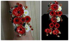 1016  SET Earrings+Enamel Bangle Spring 2016 Poppy Daisy Cuff Bangle