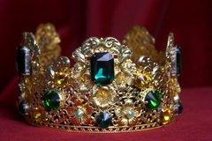 1698 Baroque Filigree Green Crystal Flower Tall Crown Headband
