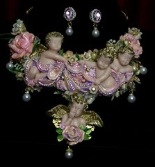 SOLD! 1777 Total Baroque Vivid Cherub Angels Flower Crystal Huge Necklace Set