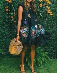 2038 Designer Inspired Fancy Embroidery Black Shape Free Mini Dress