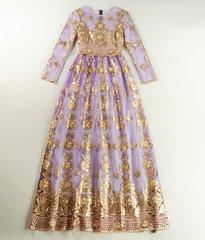 1093 Designer Inspired Golden Emroidery Mauve Maxi Dress