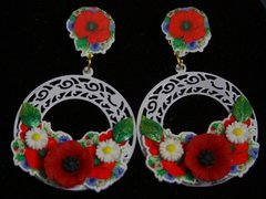 1951 Poppy Rounded Sicilian White Filigree Earrings