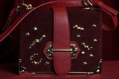SOLD! 1670 Designer Inspired Galaxy Embellished Vine Red Faux Suede Crossbody Handbag