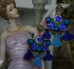 1107 Baroque Tassel Cobalt Blue Dangle Fancy Earrings Studs