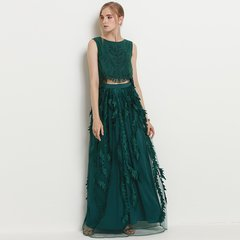 2482 2 Colors Feather Effect Full Length Twinset