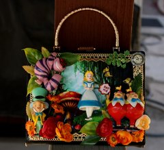 SOLD! 727 Alice In Wonderland 3D Effect Embellished Handbag Purse