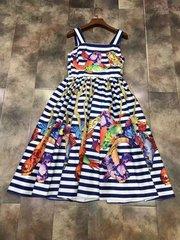 2093 Designer Striped Fish Print Fancy Mini Dress US2-US4