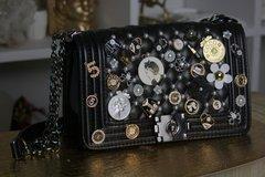 SOLD! 1388 Caviar Le Boy Madam Coco Embellished Brooches Handbag