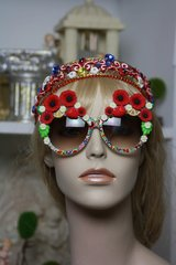 914  Poppy Daisy Summery  Baroque Embellished Fancy Shades Sunglasses Eye Wear