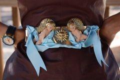 1494 Baroque Vivid Hand Made Cherubs Sun Blue Ribbon Wide Waist Belt
