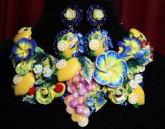 SOLD! 2118 Set Of Designer Inspired Hand Painted Tutti-Frutti NEcklace+ Earrings