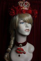 1887 Set Of Red Huge Crystal Lips Rose Velvet Choker+ Earrings