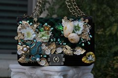 772  Le boy Art Nouveau Crystal Froggy Embellished Crossbody Eye-Catch Purse Handbag
