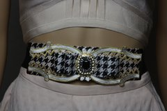 1582 Houndstooth Bow Vintage Style Waist Belt